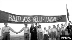 Lanțul uman din țările baltice, pe 23 august 1989, la comemorarea a 50 de ani de la semnarea pactului Molotov-Ribbentrop.