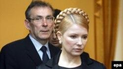 Прем'єр-міністр Юлія Тимошенко та єврокомісар з питань енергетики Андріс Пієбалґс під час спільної прес-конференції, Київ, 20 січня 2009 р.