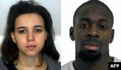 A combo photo released on January 9 by the French police shows Hayat Boumeddiene (left) and Amedy Coulibaly, suspected of being involved in the killing of a policewoman in Montrouge on January 8.