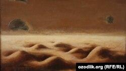 """Ўзбекистон - Ўзбекистон халқ рассоми Ғофур Қодировнинг """"Оқшом"""" номли асари (фрагмент)"""