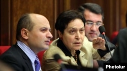 Armenia -- Stepan Safarian (L) and other deputies from the opposition Zharangutyun party attend a parliament session.