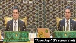 Президент Туркменистана Гурбангулы Бердымухамедов на кадрах из репортажей гостелевидения за 4 апреля и 7 августа 2019 года.