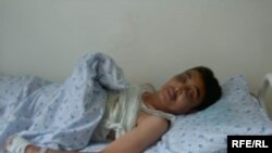 Journalist Almaz Tashiev in the hospital before he died