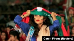 Supporters of Imran Khan's Pakistan Tehreek-e Insaaf (PTI) during a rally in Islamabad on July 30.