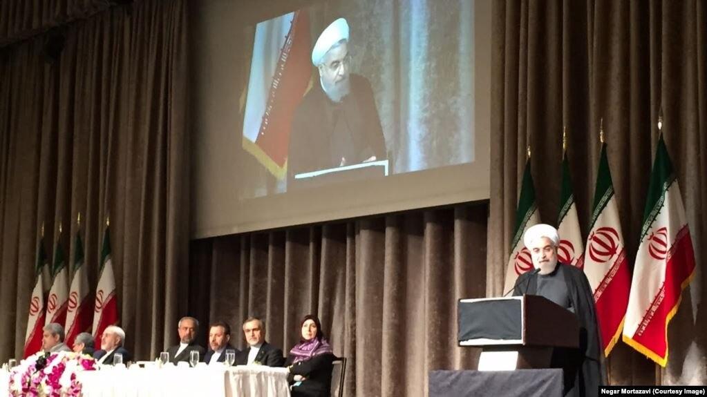 سخنرانی حسن روحانی برای ایرانیان خارج از کشور در نیویورک، عکس آرشیوی است