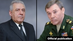 Министр обороны Армении Вагаршак Арутюнян (слева) и начальник Генштаба Вооруженных сил РФ Валерий Герасимов