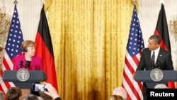 Ангела Меркель и Барак Обама во время пресс-конференции в Белом доме