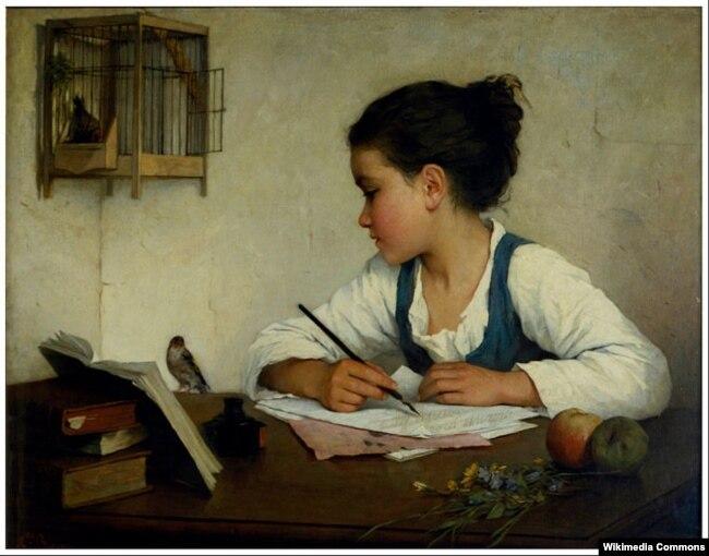Анрыета Браўн «Дзяўчынка піша» (1860-1880)