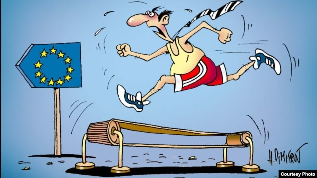 Moldovan cartoonist Alexandr Dimitrov's take on his country's efforts to pursue closer integration with the EU.