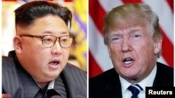 ABŞ prezidenti Donald Trump (sağda) və Şimali Koreya lideri Kim Jong Un