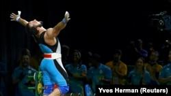 Олимпийский чемпион тяжелоатлет Ниджат Рахимов. Рио-де-Жанейро, 10 августа 2016 года.