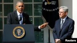 معرفی قاضی «مِریک گارلند» (راست) توسط باراک اوباما برای عضویت در دیوان عالی