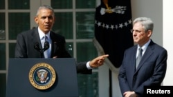 U.S. President Barack Obama (L) announces Judge Merrick Garland (R) as his nominee to the US Supreme Court, in the White House Rose Garden in Washington on March 16.