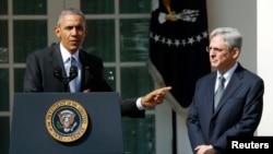 Președintele Barack Obama la anunțul nominalizării candidatului său judecătorul Merrick Garland