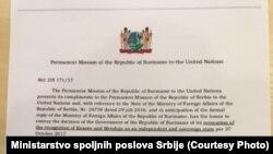 Nota koju je Ivica Dačić delio novinarima u Skupštini Srbije