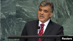 Abdullah Gul addresses the 65th UN General Assembly at UN headquarters in New York on September 23.