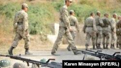 Nagorno Karabakh -- Soldiers and weapons at a Karabakh Armenian army unit, 28Oct2012.