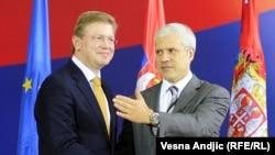 Штефан Філе, комісар у справах розширення Євросоюзу (ліворуч) та Борис Тадич, Белград,17 вересня 2010 року