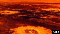 Сегодня на Венере нет воды. На переднем плане кратер Saskia диаметром 37,3 километра. Реконструкция NASA