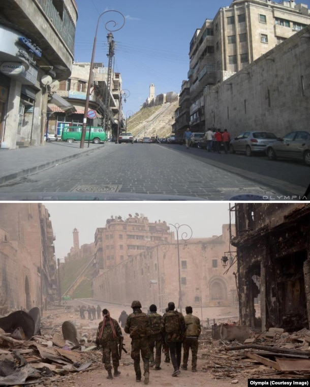 The view along a street leading up to Aleppo's 13th century citadel