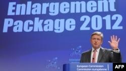 Comisarul pentru extindere, Stefan Fule, prezintă rapoartele Comisiei Europene, 10 octombrie 2012