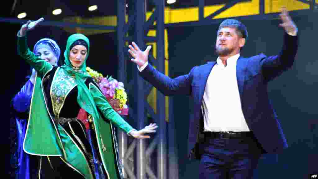 Kadyrov dances during a gala performance as part of the celebrations that took place on his 35th birthday in Grozny last year.