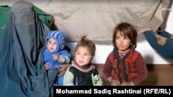 آرشیف، بیبی گل بیوه سرباز افغان که پس از کشته شدن شوهرش برای زنده ماندن خود و اولادهایش گدایی میکند.
