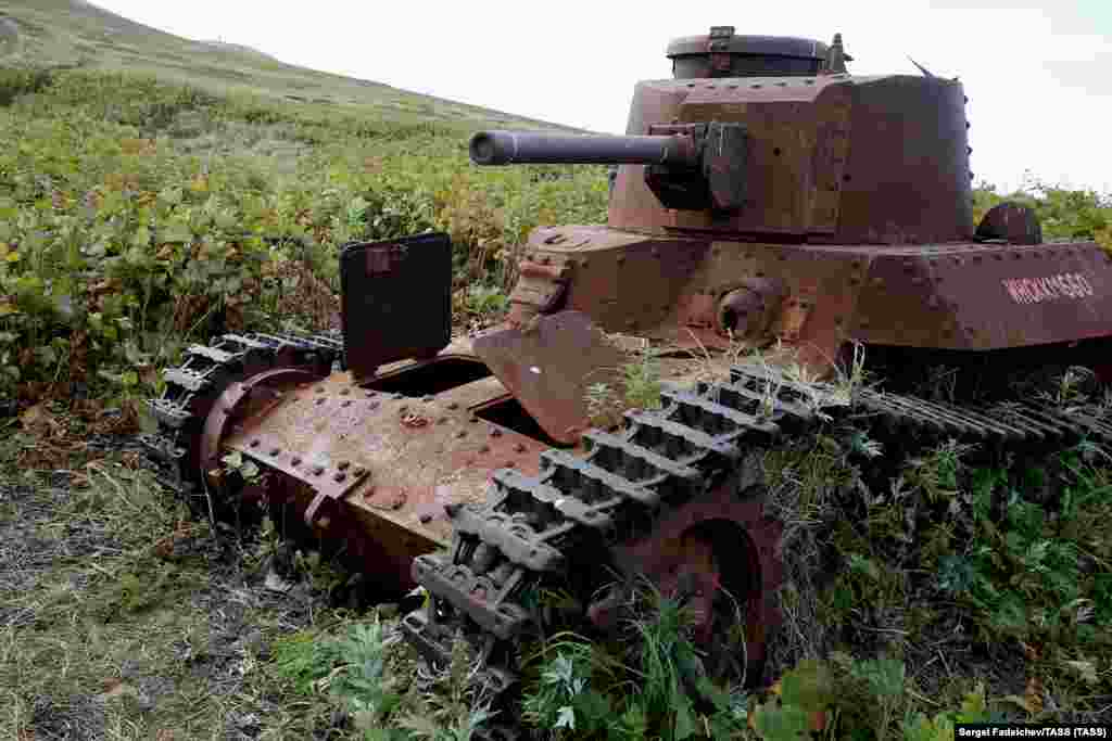 "A Japanese tank rusting on one of the southern Kurile Islands. After losing more than 20 million Soviet citizens in World War II, the idea of returning land to an ally of Nazi Germany is unthinkable to most Russians. One politician made Russia's position clear in a 2002 statement: ""[Japan] must remember they lost the war and signed an unconditional surrender; they put themselves politically and territorially at the winners' mercy."""