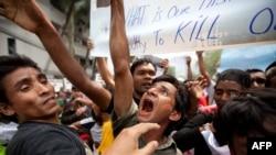 Muslims from Myanmar protest outside Myanmar's embassy in Kuala Lumpur.