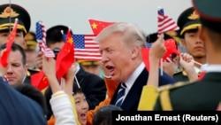 Президент США Дональд Трамп по прибытии в Пекин