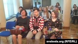 Старшыня ТБМ Алена Анісім, выкладчыкі Аксана Цыпліцкая і Ягор Дзёбік