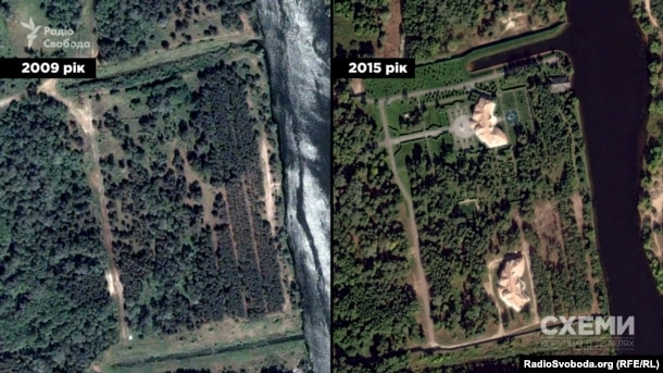 Маєток, який на той час міністр екології уряду Микола Злочевський звів на дамбі Київського водосховища на місці вирубаного лісу