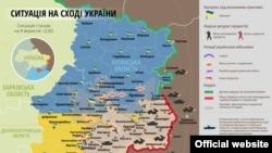Чыгыш Украинадагы уруш жүрүп жаткан аймактын картасы.