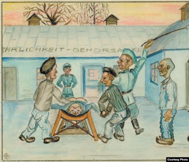 Так відбувалися тілесні покарання (з «Альбому політв'язня», автор малюнка – член ОУН(б) Петро Балей)