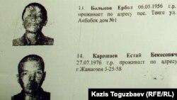 Естай Қарашаевтың іздеу жарияланғандар арасындағы суреті. 25 желтоқсан 2011 жыл.