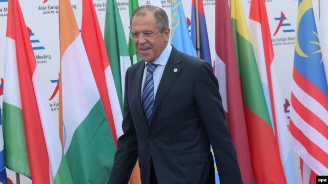 Russian Foreign Minister Sergey Lavrov at an Asia-Europe Meeting (ASEM) on October 16 in Milan