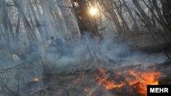 صحنه ای از آتش سوزی در پارک جنگلی گلستان