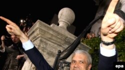 President Tadic celebrates his election win in May