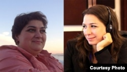 Azerbaijan -- RFE/RL Azerbaijani Service correspondents Khadija Ismayilova and Nushabe Fatullayeva -- winners of the 2013 Global Shining Light Award for Investigative Journalism.