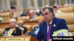 Президент Таджикистана Эмомали Рахмон на саммите в Эр-Рияде. 22 мая 2017 года.