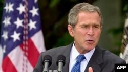 George W. Bush volt amerikai elnök beszédet tart 2001. szeptember 18-án