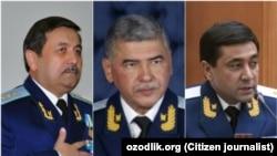 Находящиеся под арестом бывшим генпрокуроры Узбекистана. На фото (слева направо): Рашид Кадыров, Ихтиёр Абдуллаев и Отабек Муродов.