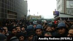 Протесты в Азербайджане. Город Губа, 15 января 2016 года.