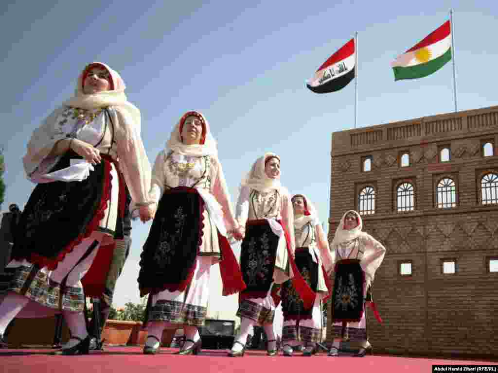 A Greek folklore dance ensemble performs in Iraq.