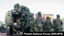 Finnish soldiers participating in NATO's Exercise Trident Juncture 2018 last month.