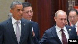 АҚШ президенті Барак Обама мен Ресей президенті Владимир Путин Азия-Тынық мұхит аймағы экономикалық саммитінде. Пекин, 11 қараша 2014 жыл.