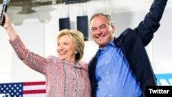 Hillary Clinton se bashku me Tim Kaine