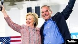 Hillary Clinton dhe Senatori Kaine