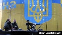 Українські військові під час репетиції параду в Києві, 22 серпня 2021 року