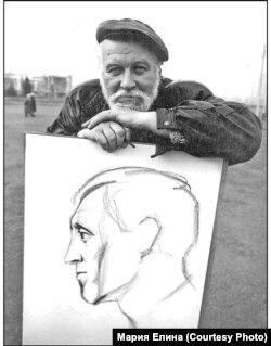 Вадим Елин с портретом Высоцкого